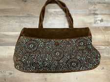 Offhand Designs Tote Knitting Bag Brown Blue Pattern Excellent used condition
