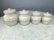 Longaberger Traditions Pottery~Complete Canister Set~Heritage Blue~Excellent