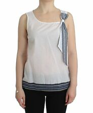 bb244a1a23 Ermanno SCERVINO Top White Blue Blouse Tank Shirt Sleeveless It46 us12