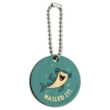 Nailed It Hammerhead Shark Funny Humor Pun Wood Wooden Round Keychain Key Chain
