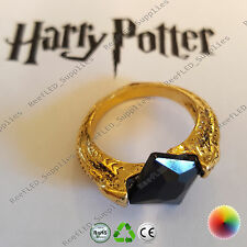 Harry Potter Deathly Horcruxes Resurrection Stone Gold Crystal Ring Dark UK Film