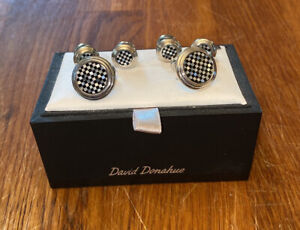 David Donahue Sterling Silver Onyx Mother of Pearl Checkerboard Cufflinks Set