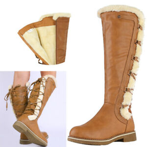 LADIES WOMENS KNEE HIGH WINTER FUR LINED SNOW RIDING BOOTS SHOES SIZE 5-11 US