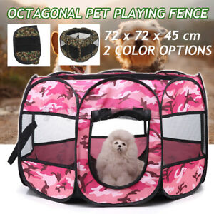 Portable Pet Dog Puppy Cat Tent Playpen Exercise Fence Folding Travel House Cage