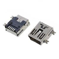 10pcs Mini USB 5 Pin Female Socket DIY SMT Connector Silver Tone DT