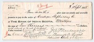 Montague PEI Bank of Nova Scotia Canada 1925 check, Cardigan Shipbuilding