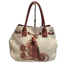 Kate Landry Linen 2 Handle Shoulder Bag Beige Tan Magnetic Snap Leather Tassel