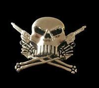 Gun Skull Belt Buckle Skulls Heads Evil Crossbones Two Guns Belts Buckles