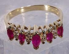Ruby Anniversary Band Ring w/ Diamond Accents 10 K Gold Size 6.25