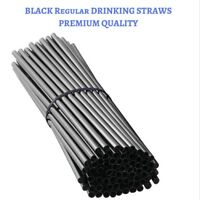 100 Regular Drinking Straws - 20 CM Long - Black - Straw - Weddings , Party
