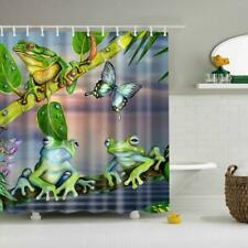 Polyester Shower Curtain with 12 Hooks Home Bathroom Hotel Decor Frogs #1