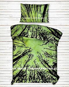 Indien Foncé Forêt Imprimé Vert Couvre-Lit Coton Jeté Double Taille Lit Drap Set