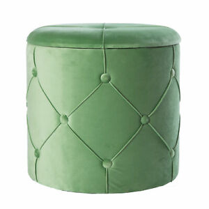 New Bold Tones Round Wooden Velvet Ottoman Stool with Lid