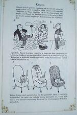 Loriot, Katzen, Cartoon, Druck schw.-w. 70er J.