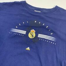 Vintage Real Madrid Mens Large Spellout Graphic T Shirt Football Soccer Blue
