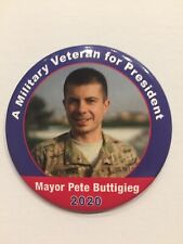 "2020 Mayor Pete Buttigieg for President 3"" Button Military Veteran for President"