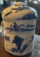 Vintage Asian Blue And White Covered Ginger Jar