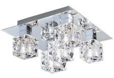 "Searchlight 2275-5 ""Cool Ice"" 5-Light Flush Ceiling Pendant Glass & Chrome"