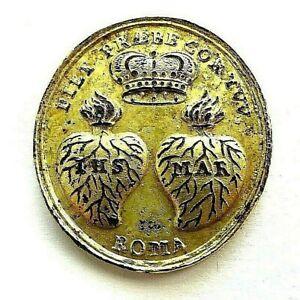 Antike Pilger Medaille 18.Jh. IHS MAR Herz Jesus Maria Bronze vergoldet Original