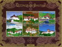 Bhutan 2015 MNH Dzongs of Bhutan 6v M/S Monastic Fortresses Monasteries