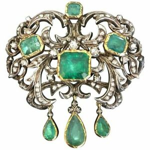 Antique Brooch Pin Victorian Diamond,Emerald 18K Yellow Gold Over For Unisex