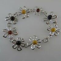 Natural, Multi-Color BALTIC AMBER Bracelet 925 STERLING SILVER (Poland) #0094