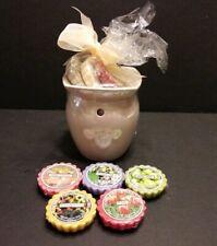 Yankee Candle Wax Tart Ceramic Burner Melter, 8 Wax Tarts, & 1 Tea Light - NEW