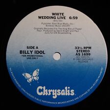 """BILLY IDOL: White Wedding Live / With Into 12"""" Chyrsalis PROMO Only 12"""" NM"""