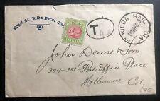 1933 St Kilda Australia Yacht Club Postage Due cover To Melbourne