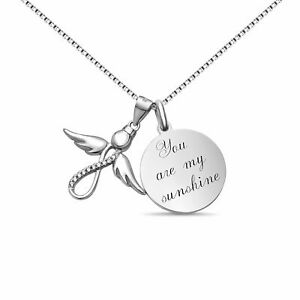 Personalisierte  Infinity Engel Kette  Gravur Plättchen Halskette aus 925 Sil...