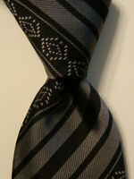 MASSIMO BIZZOCCHI by KITON Mens Silk Necktie ITALY Luxury STRIPED Black/Gray EUC