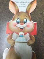 Vintage Birthday Greeting Card Bunny Rabbit Diecut Hallmark Cake Candles Brown