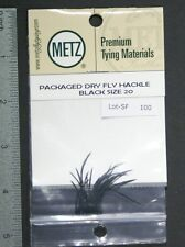 Metz/Umpqua Black Size 20 Genetic Dry Fly Rooster Hackle Pack New
