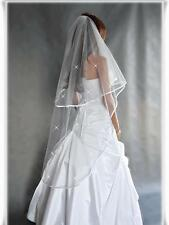 "New 2T White / Ivory Wedding Prom Bridal Veil With Comb 52""- Swarovski Crystals"