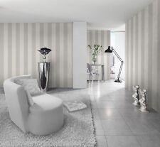 Silver & White  Striped Wallpaper  (Stripes are 13cm wide)