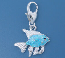 LOVELY BRIGHT BLUE & SILVER FISH CLIP ON CHARM FOR BRACELETS   - NEW