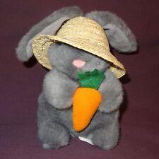 "Bunny Rabbit Carrot Straw Hat Easter Farmer Gray Plush Stuffed Animal 6"""