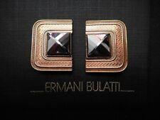 NEW Signed Ermani Bulatti Bronze Plated Art Deco CLIP Earrings w/Hematite
