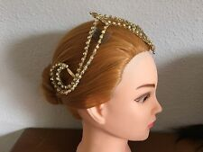 Profesional Quality Ballet Headpiece Tiara Crown Arabian Gold AB Crystal Stocked