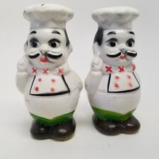 Vintage Chef's Salt And Pepper Shakers Molded Compisite Plastic Hong Kong 3.5""