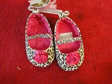 Child of mine Carters baby shoes leopard animal print with pink up to 3 months