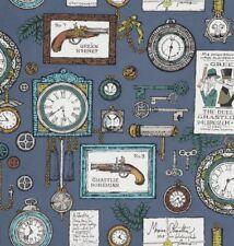 A Ghastlie Duel Alexander Henry 8592/BR Gray Spooky GUNS CLOCKS Cotton Fabric