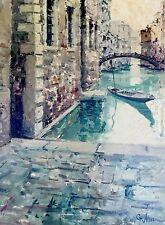 GIUSEPPE MARINO Vintage Oil on Canva Painting Listed Italian Artist Venice Canal