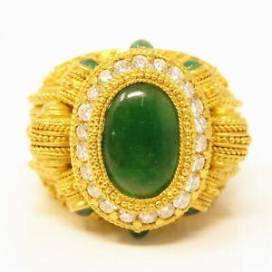 NYJEWEL 22k Yellow Gold 4.5ctw Jadeite A Jade Emerald Diamond Huge Ring 36g