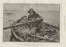 1881 HER FIRST HAND AT AN OAR ART RENOUF FISHERMAN AND CHILD ROWING BOAT