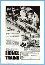 1947 LIONEL TRAINS advertisement, Steam Locomotives, Dad & Son