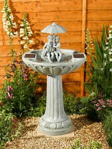 Smart Solar Umbrella Garden Water Feature Fountain Bird Bath Next Day Delivery