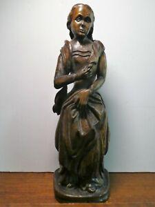 Antique Primitive  Female Wood Carving Plantation Woman