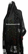 Écharpes et châles noirs en soie pour femme