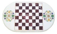 4'x2' White Marble Dining Chess Table Top Rare Marquetry Inlay Home Decor H2477